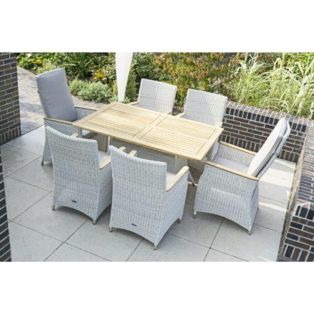 """Zebra Garten- und Relaxsessel """"Novus"""", Aluminium und Polyrattan silkwhite, Gartentisch """"Loomus"""", Tischplatte Teakholz, Gestell Polyrattan silkwhite"""