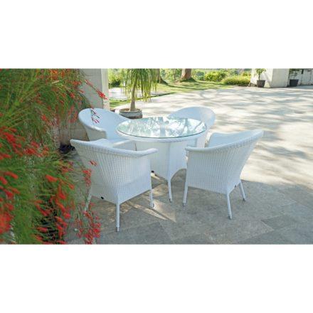 """Zebra Gartentisch """"Hastings"""" und Gartenstuhl """"Hastings"""", Gestell Aluminium, Polyrattangeflecht snowwhite, Tischplatte aus Glas"""