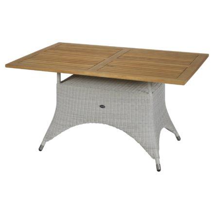 """Zebra Gartentisch """"Loomus"""", eckig, Gestell Aluminium, Polyrattan silkwhite, Tischplatte Teakholz"""
