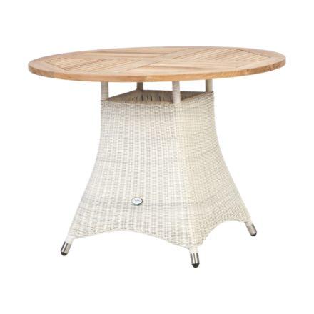 """Zebra Gartentisch """"Loomus"""", rund, Gestell Aluminium, Polyrattan silkwhite, Tischplatte Teakholz"""