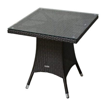 """Zebra Gartentisch """"Mary"""", Gestell Aluminium, Polyrattangeflecht java, quadratisch, 70x70 cm, mit Glasplatte"""