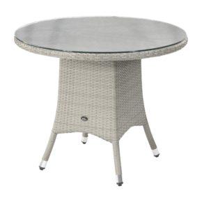 """Zebra Gartentisch """"Mary"""", Gestell Aluminium, Polyrattangeflecht snowwhite, rund 90 cm, mit Glasplatte"""