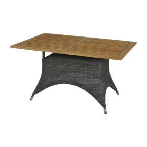 """Zebra Gartentisch """"Status"""", Gestell Aluminium, Polyrattan grey black, Tischplatte Teakholz"""