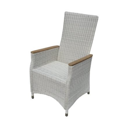 "Zebra Relaxsessel ""Novus"", verstellbare Rückenlehne, Gestell Aluminium, Polyrattan silkwhite, Armlehnen Teakholz"