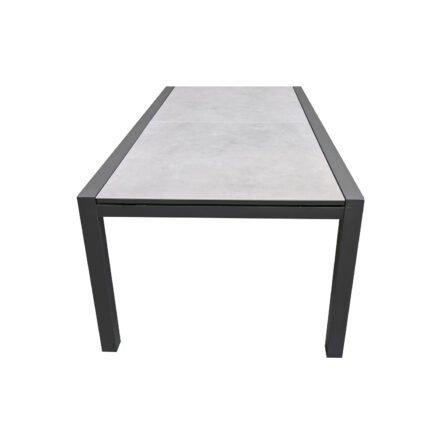 """Jati&Kebon Ausziehtisch """"Livorno"""", Gestell Alu eisengrau, Tischplatte Keramik Zement hell"""