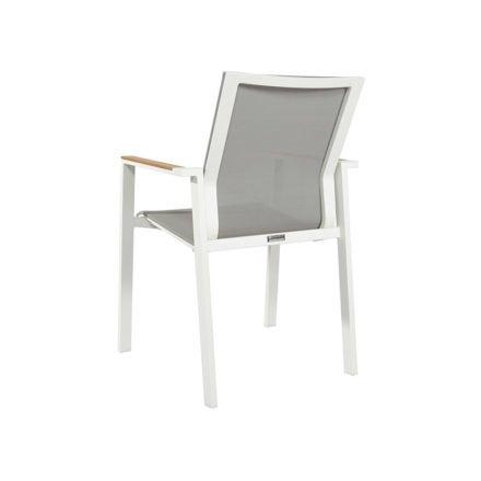 Jati&Kebon Stapelsessel Beja, Gestell Aluminium weiß, Textilgewebe hellgrau, Armlehnen Teakholz
