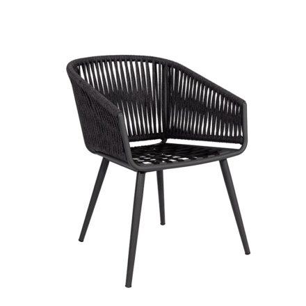 "Jati&Kebon Dining-Sessel ""Palm"", Gestell Aluminium eisengrau, Rope straight weaving schwarz"