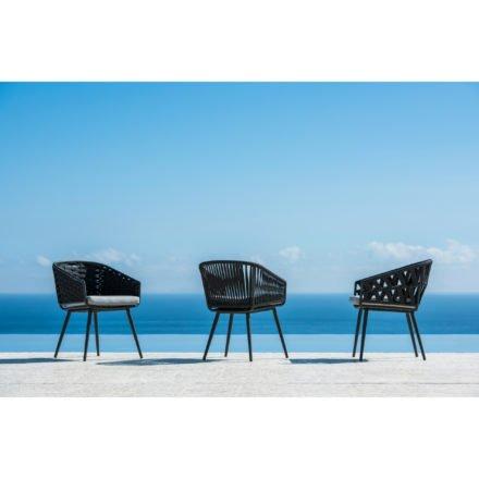 "Jati&Kebon Dining-Sessel ""Palm"", Gestell Aluminium eisengrau, Rope schwarz"