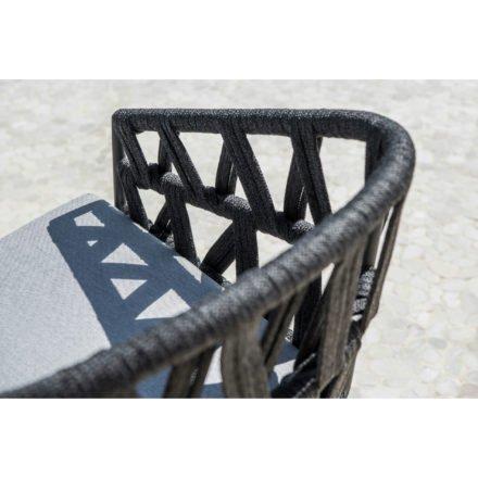 "Jati&Kebon Dining-Sessel ""Palm"", Gestell Aluminium eisengrau, Rope cross weaving schwarz"
