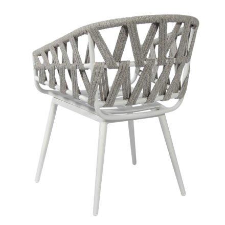 "Jati&Kebon Sessel ""Palm"", Gestell Aluminium weiß, Rope cross weaving light grey melange"