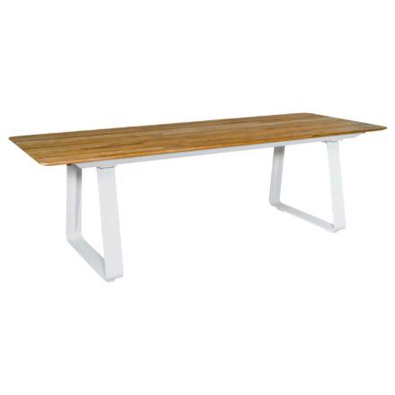 Jati&Kebon Gartentisch Elko, Gestell Aluminium weiß, Tischplatte Teakholz