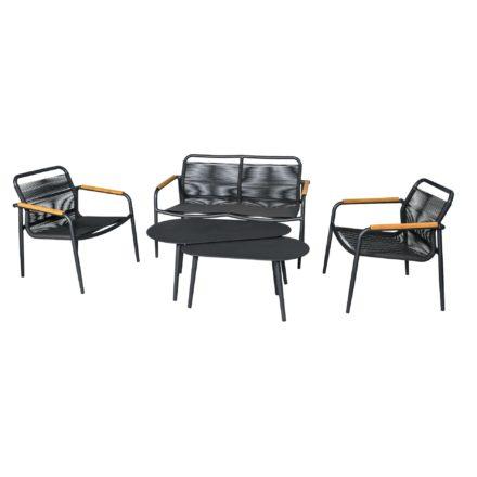"Jati&Kebon Loungeserie ""Amazone"", Gestell Aluminium eisengrau, Bespannung Sunloom-Faser dunkelgrau, Armlehnen Teakholz"