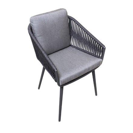"Jati&Kebon Dining-Sessel ""Palm"", Gestell Aluminium eisengrau, Rope straight weaving schwarz mit Kissen Natté Charcoal Chiné"