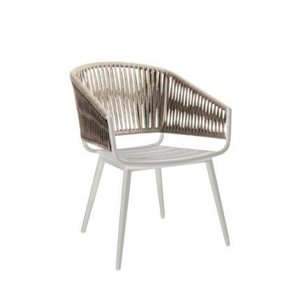 "Jati&Kebon Dining-Sessel ""Palm"", Gestell Aluminium weiß, Rope straight weaving light grey melange"