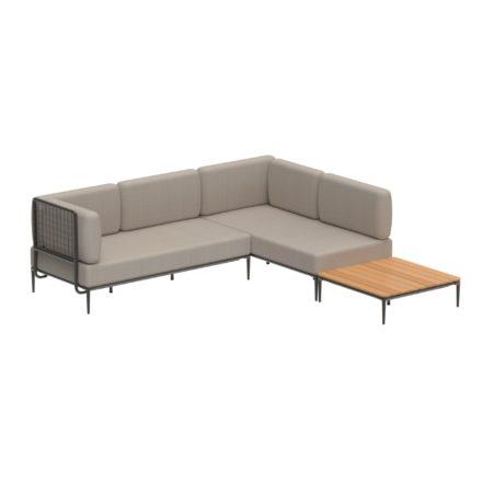 """Royal Botania """"Lusit"""" Lounge-Set mit Tisch, Gestell Aluminium und Rope-Material bronz, Loungetisch Teakplatte"""