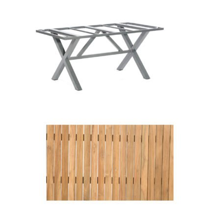 "SonnenPartner Gartentisch ""Base-Spectra"", 160x90 cm, Gestell Aluminium anthrazit, Tischplatte, ""Pure"" Natur Teak"