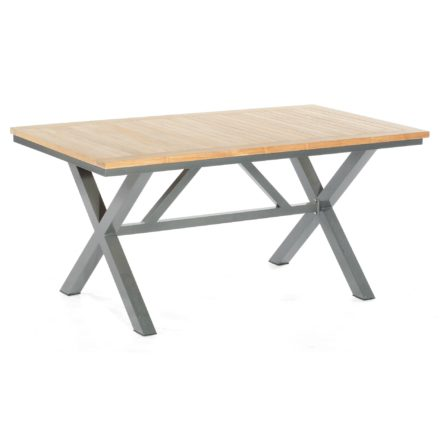 "SonnenPartner ""Base-Spectra"" Gartentisch, 160x90 cm, Gestell Aluminium anthrazit, Tischplatte, Pure ""Natur Teak"""