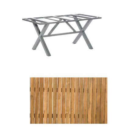 "SonnenPartner Gartentisch ""Base-Spectra"", 160x90 cm, Gestell Aluminium anthrazit, Tischplatte, ""Select"" Old Teak"