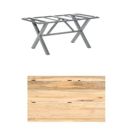 """SonnenPartner Gartentisch """"Base-Spectra"""", 160x90 cm, Gestell Aluminium anthrazit, Tischplatte, """"Solid"""" Old Teak natur"""