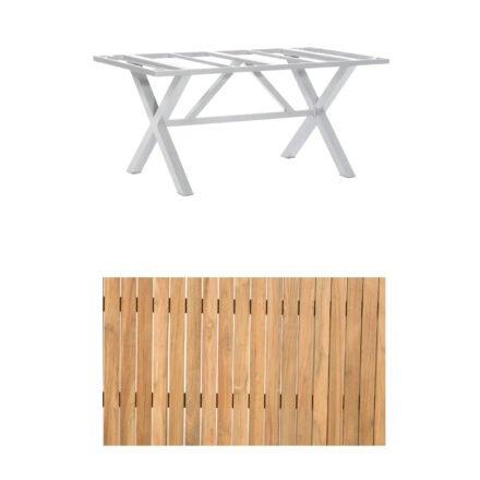 """SonnenPartner Gartentisch """"Base-Spectra"""", 160x90 cm, Gestell Aluminium silber, Tischplatte, """"Pure"""" Natur Teak"""