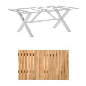 """SonnenPartner Gartentisch """"Base-Spectra"""", 200x100 cm, Gestell Aluminium silber, Tischplatte, """"Pure"""" Natur Teak"""