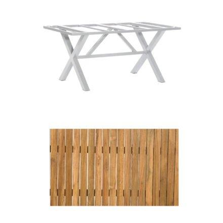 """SonnenPartner Gartentisch """"Base-Spectra"""", 160x90 cm, Gestell Aluminium silber, Tischplatte, """"Select"""" Old Teak"""
