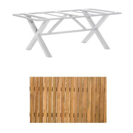 """SonnenPartner Gartentisch """"Base-Spectra"""", 200x100 cm, Gestell Aluminium silber, Tischplatte, """"Select"""" Old Teak"""