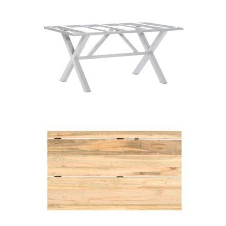 "SonnenPartner Gartentisch ""Base-Spectra"", 160x90 cm, Gestell Aluminium silber, Tischplatte, ""Solid"" Old Teak natur"