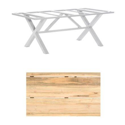 "SonnenPartner Gartentisch ""Base-Spectra"", 200x100 cm, Gestell Aluminium silber, Tischplatte, ""Solid"" Old Teak natur"