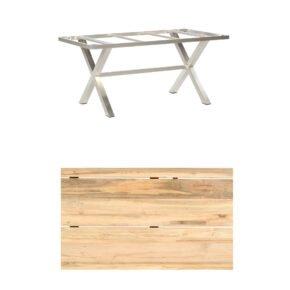 "SonnenPartner Tisch ""Base-Spectra"", 160x90 cm, Gestell Edelstahl, Tischplatte ""Solid"" Old Teak Natur"