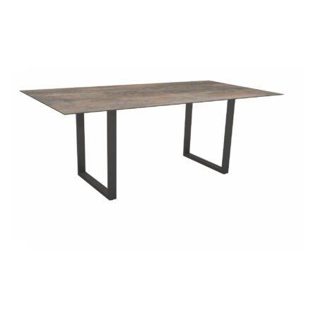 Stern Kufentisch, Maße: 200x100x73 cm, Gestell Aluminium anthrazit, Tischplatte HPL Ferro