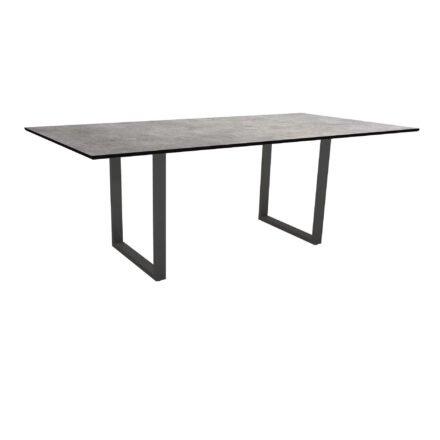 Stern Kufentisch, Maße: 200x100x73 cm, Gestell Aluminium anthrazit, Tischplatte HPL Metallic grau