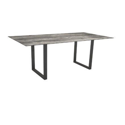Stern Kufentisch, Maße: 200x100x73 cm, Gestell Aluminium anthrazit, Tischplatte HPL Tundra grau