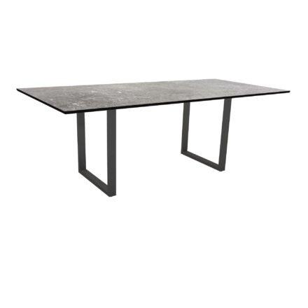 Stern Kufentisch, Maße: 200x100x73 cm, Gestell Aluminium anthrazit, Tischplatte HPL Vintage stone