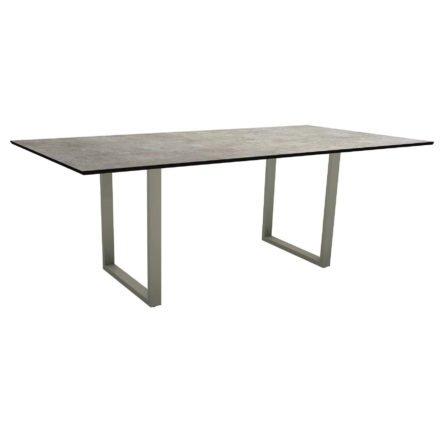Stern Kufentisch, Maße: 200x100x73 cm, Gestell Aluminium graphit, Tischplatte HPL Metallic grau