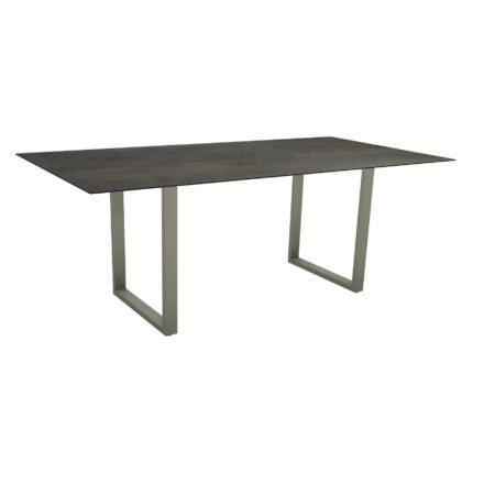 Stern Kufentisch, Maße: 200x100x73 cm, Gestell Aluminium graphit, Tischplatte HPL Nitro