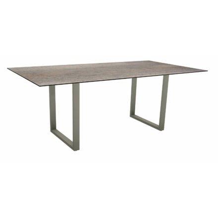 Stern Kufentisch, Maße: 200x100x73 cm, Gestell Aluminium graphit, Tischplatte HPL Smoky