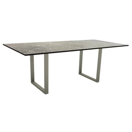 Stern Kufentisch, Maße: 200x100x73 cm, Gestell Aluminium graphit, Tischplatte HPL Vintage stone
