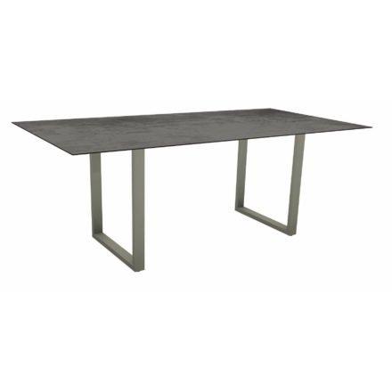 Stern Kufentisch, Maße: 200x100x73 cm, Gestell Aluminium graphit, Tischplatte HPL Zement