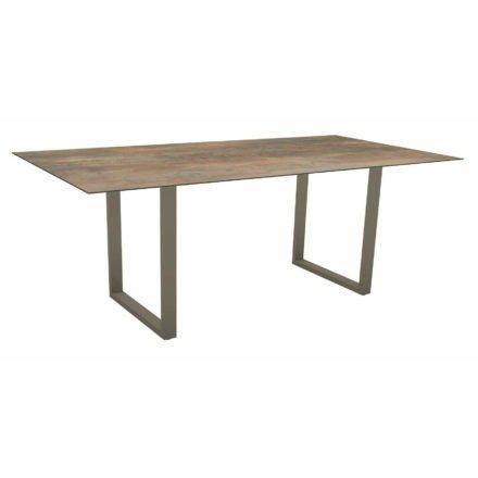 Stern Kufentisch, Maße: 200x100x73 cm, Gestell Aluminium taupe, Tischplatte HPL Ferro