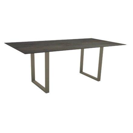 Stern Kufentisch, Maße: 200x100x73 cm, Gestell Aluminium taupe, Tischplatte HPL Nitro