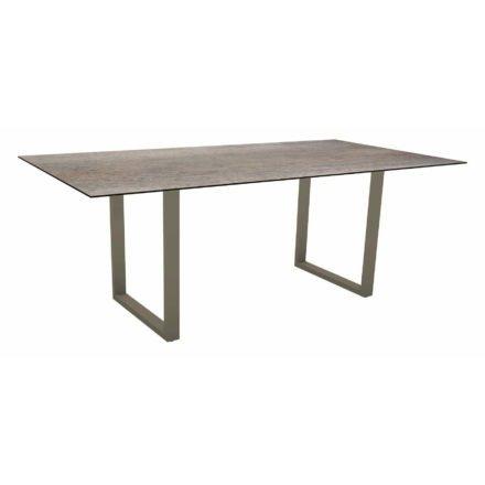 Stern Kufentisch, Maße: 200x100x73 cm, Gestell Aluminium taupe, Tischplatte HPL Smoky