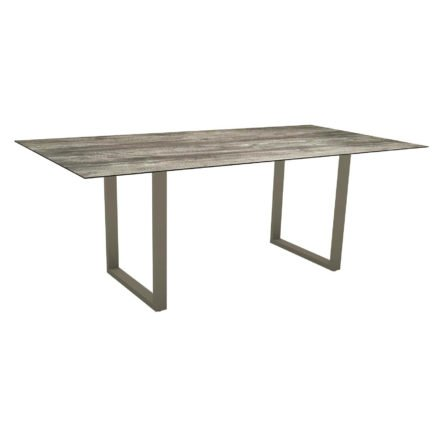 Stern Kufentisch, Maße: 200x100x73 cm, Gestell Aluminium taupe, Tischplatte HPL Tundra grau