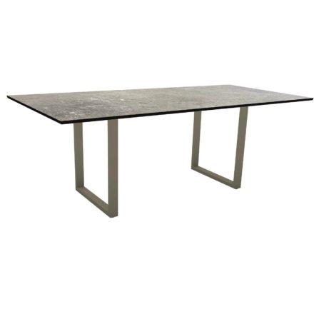 Stern Kufentisch, Maße: 200x100x73 cm, Gestell Aluminium taupe, Tischplatte HPL Vintage stone