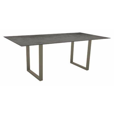 Stern Kufentisch, Maße: 200x100x73 cm, Gestell Aluminium taupe, Tischplatte HPL Zement