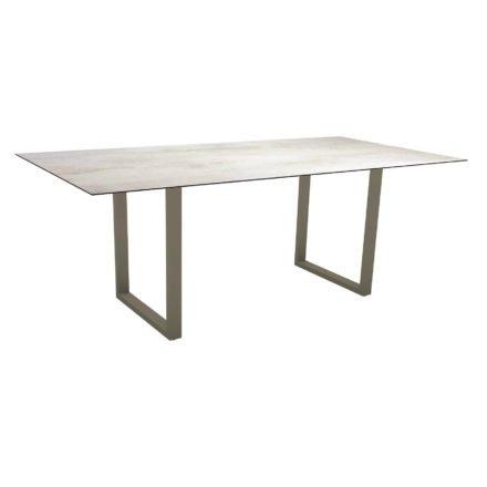 Stern Kufentisch, Maße: 200x100x73 cm, Gestell Aluminium taupe, Tischplatte HPL Zement hell