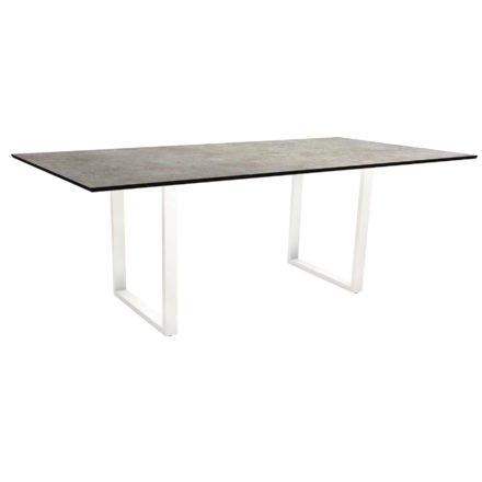 Stern Kufentisch, Maße: 200x100x73 cm, Gestell Aluminium weiß, Tischplatte HPL Metallic grau