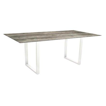 Stern Kufentisch, Maße: 200x100x73 cm, Gestell Aluminium weiß, Tischplatte HPL Tundra grau