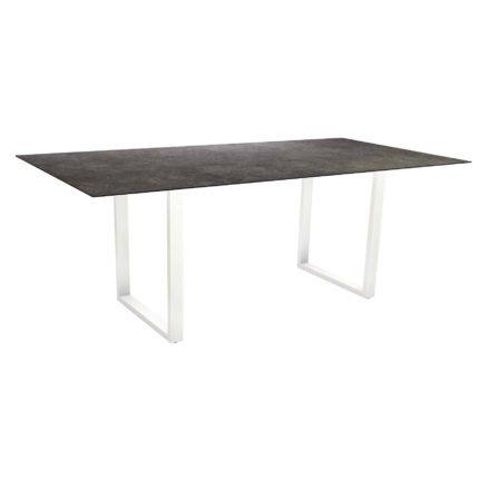 Stern Kufentisch, Maße: 200x100x73 cm, Gestell Aluminium weiß, Tischplatte HPL Vintage grau