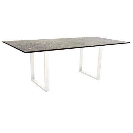 Stern Kufentisch, Maße: 200x100x73 cm, Gestell Aluminium weiß, Tischplatte HPL Vintage stone